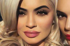 Kylie Jenner portrait, detail from Kylie, Kendall & Skull