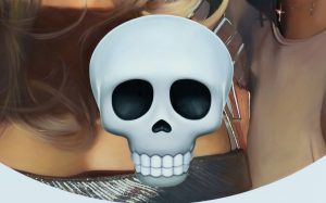 """detail form painting """"Kylie, Kendall and Skull"""" by Chris Drange"""
