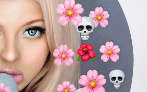 """detail form painting """"Loren with Cherry Blossoms and Skulls"""" by Chris Drange"""