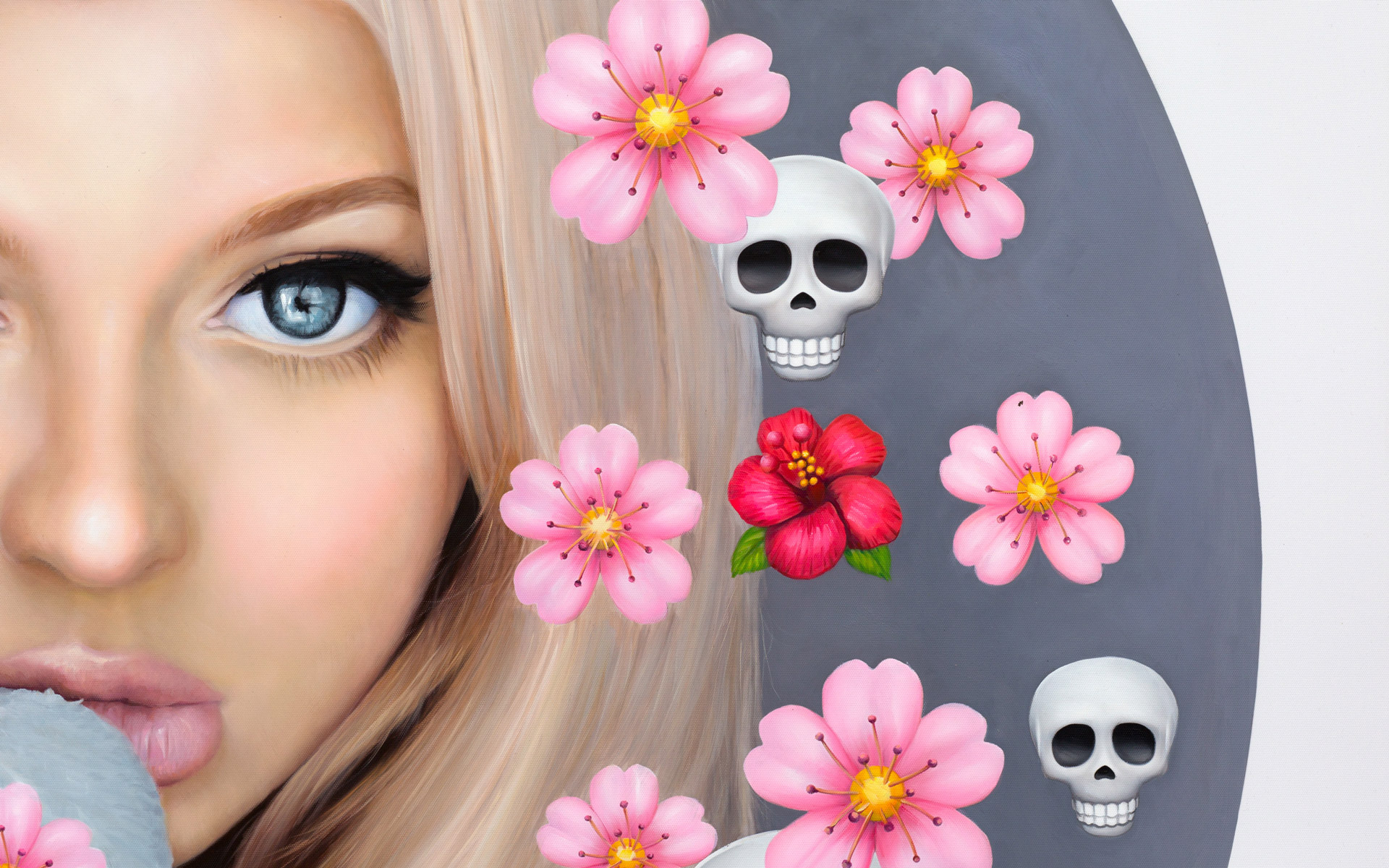 "detail form painting ""Loren with Cherry Blossoms and Skulls"" by Chris Drange"