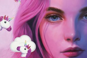 Detail from painting called Untitled, Clouds With Unicorns